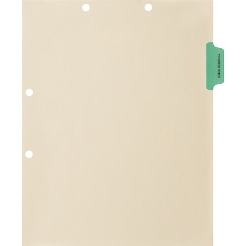 """Progress Notes"" Side Tab Chart Dividers -  Green Tab in Position 2 - 100/Pack"