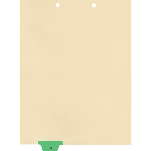 Medical Arts Press Match Colored End Tab Chart Dividers- Lab, Tab Position 2- Green (100/Pkg) (56802)