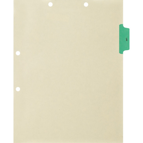 Medical Arts Press Match Colored Side Tab Chart Dividers- Lab, Tab Position 2- Green (100/Pkg) (56767)