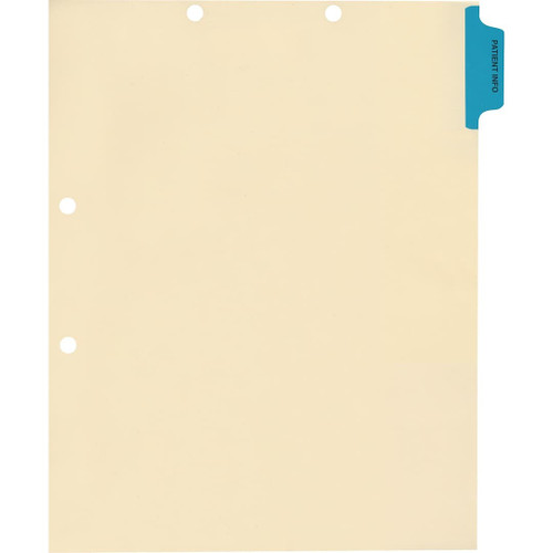 Medical Arts Press Match Colored Side Tab Chart Dividers- Patient Info, Position 1 (100/Pkg) (56762)
