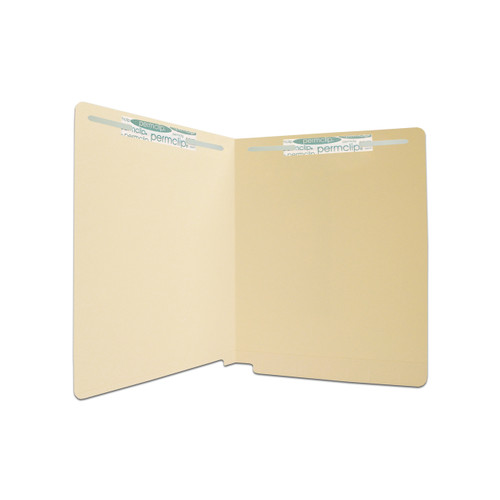 Medical Arts Press Match Full Cut End Tab File Folders with 2 Permclip Fasteners in Position 1 and 3 - 11 Pt. Manila (50/Box)
