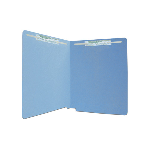 Medical Arts Press Match 20 Pt. Heavy Duty Blue Colored End Tab Folders with 2 Fasteners in Positions 1 & 3 -  Letter Size - 40/Box