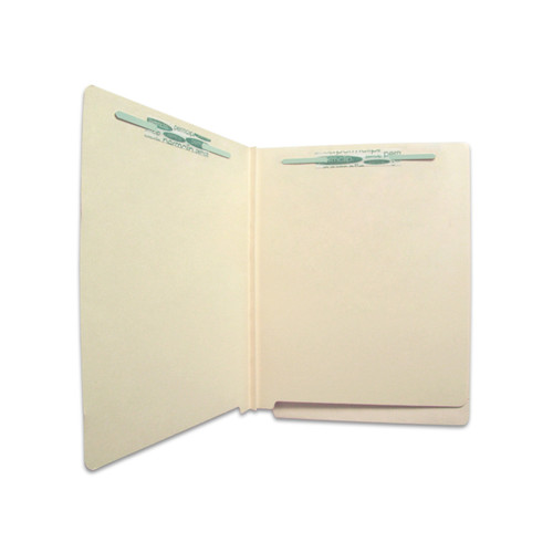 Medical Arts Press Economy End Tab Classification Folders  with Permclip Fasteners in Positions 1 & 3 and 1 Divider with Fasteners on both sides -  11 Pt. Manila - Letter Size- Mylar Reinforced Spine -  40/Box