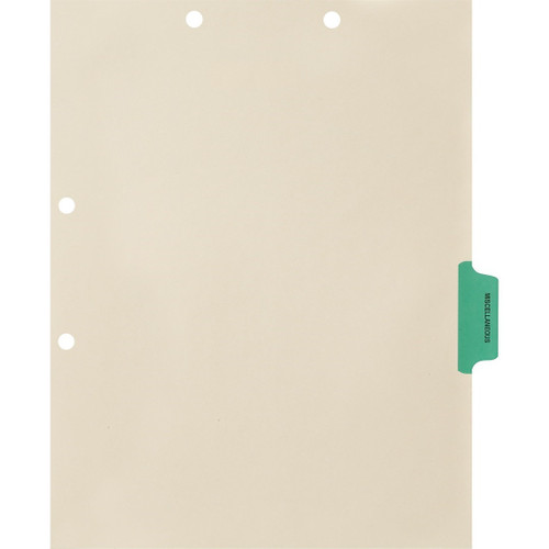 Medical Arts Press Match Colored Side Tab Chart Dividers- Miscellaneous, Tab Position 4- Green (100/Pkg) (56777)