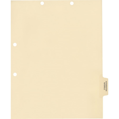Medical Arts Press Match Colored Side Tab Chart Dividers- Authorization/Referrals, Tab Position 5- Clear (100/Pkg) (56782)