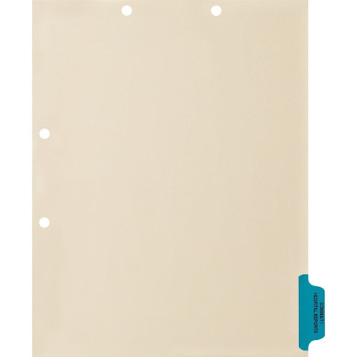 Medical Arts Press Match Colored Side Tab Chart Dividers- Consult/Hospital Reports, Tab Position 6- Blue (100/Pkg) (56788)
