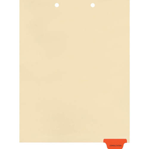 Medical Arts Press Match Colored End Tab Chart Dividers- Consultation, Tab Position 6- Red (100/Pkg) (56824)