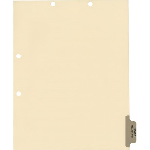 Medical Arts Press Match Colored Side Tab Chart Dividers- Previous Medical Records, Tab Position 6- Gray (100/Pkg) (56793)