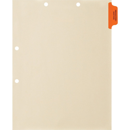 Medical Arts Press Match Colored Side Tab Chart Dividers- Immunization/Injections, Position 1 (100/Pkg) (56759)