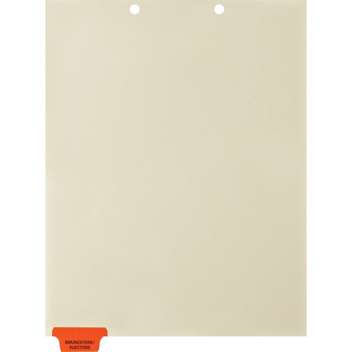 Medical Arts Press Match Colored End Tab Chart Dividers- Immunization/Injections, Tab Position 1- Orange (100/Pkg) (56795)