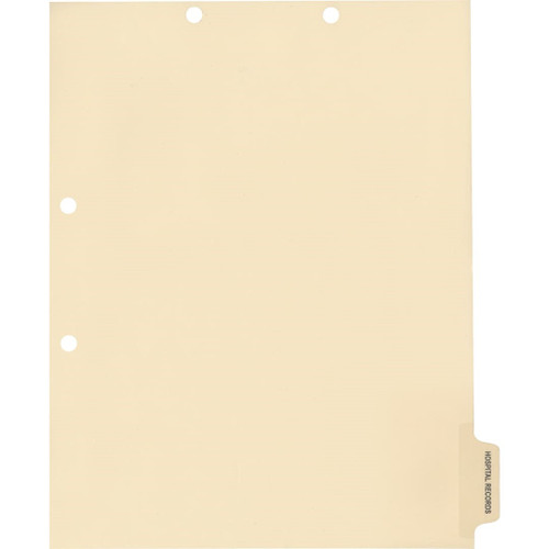 Medical Arts Press Match Colored Side Tab Chart Dividers- Hospital Records, Tab Position 6- Clear (100/Pkg) (56790)