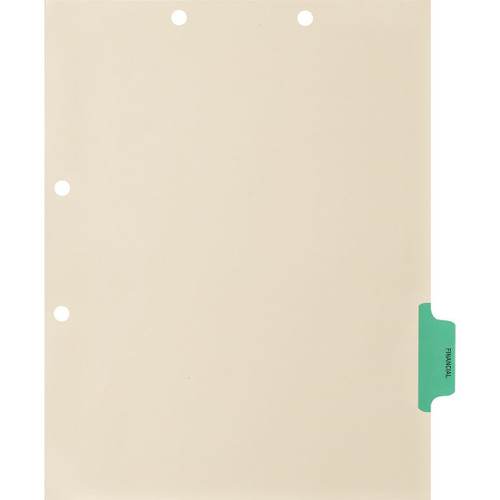 Medical Arts Press Match Colored Side Tab Chart Dividers- Financial, Tab Position 5- Green (100/Pkg) (56784)