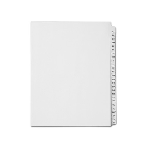 Medical Arts Press Match Avery Collated Legal Index Dividers- Alphabet AA-ZZ, Letter Size, White, Mylar Tabs (1/Set) (SP11AAZZ)