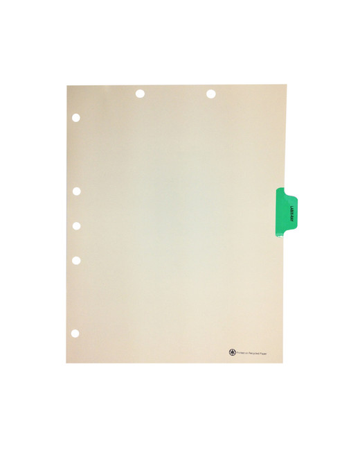 Medical Arts Press Match Colored Side Tab Chart Dividers- Lab/X-Ray, Tab Position 4- Green (25/Pkg)