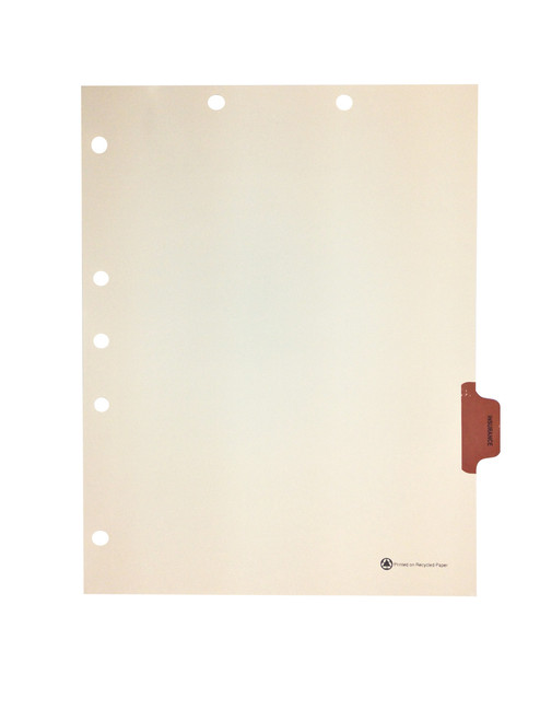 Medical Arts Press Match Colored Side Tab Chart Dividers- Insurance, Tab Position 6- Brown (25/Pkg)