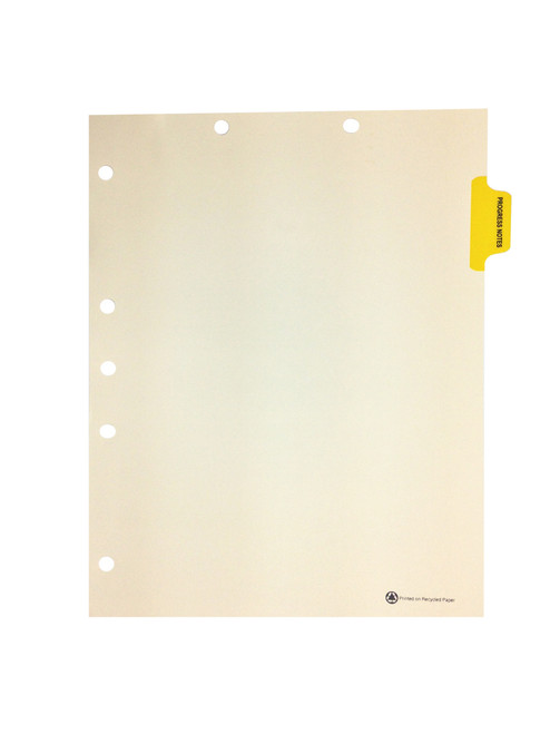 "Medical Arts Press Colored Side Tab Chart Dividers- ""Progress Notes"" -  Tab Position 2 - Yellow (25/Pkg)"