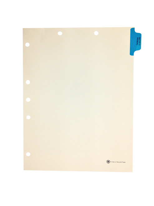 Medical Arts Press Match Colored Side Tab Chart Dividers- History/Physical, Tab Position 1- Blue (25/Pkg)