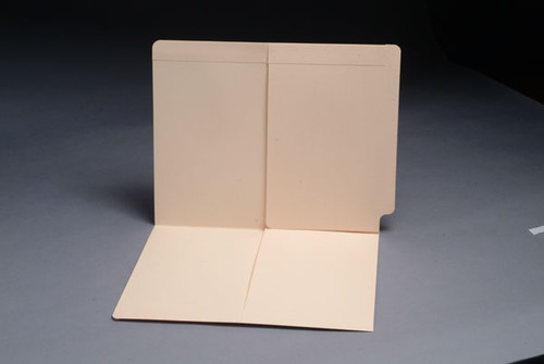 End Tab Pocket Folder - Two 1/2 Pockets Inside Front and Back -  Fasteners in Positions 1 & 3 - 11 Pt. Manila - Letter Size - 50/Box