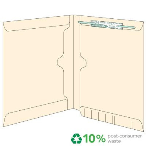 End Tab Double Pocket Folder - Twin Full Size Pockets on both panels - Fastener in Position 1 - 11 Pt. Manila - Letter Size - 50/Box
