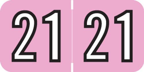 "Barkley Yearband Label -  2021 - PINK-  BKYM Series  - 3/4"" H x 1-1/2"" W - 500/Roll"