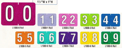 "AmeriFile ColorBrite Numeric Labels Starter SET 0-9 with Tray - 1-1/2"" W x 1"" H - 10 Rolls of 500"