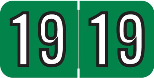 "Amerifile Yearband Label (Rolls of 500) - 2019 - Green - ARYM Series - Laminated -3/4"" H x 1-1/2"" W"