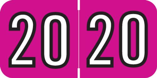 "Amerifile Yearband Label (Rolls of 500) - 2020- Pink - ARYM Series - Laminated -3/4"" H x 1-1/2"" W"