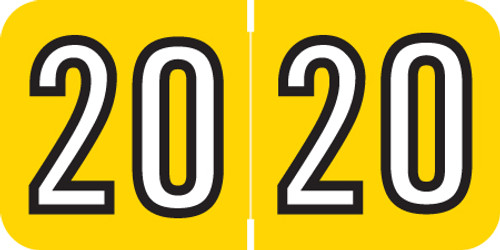 """Colwell Yearband Label (Rolls of 500) - 2020 - Yellow - COYM Series - Laminated -3/4"""" H x 1-1/2"""" W"""