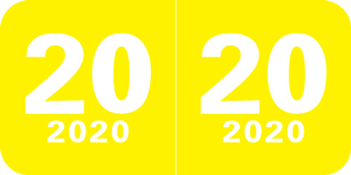"""Col'R'Tab Yearband Label (Rolls of 500) - 2020 -Yellow - CTYM Series - Laminated - 3/4"""" H x 1-1/2"""" W"""