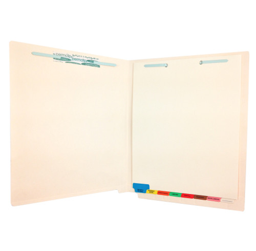 Medical Arts Press End Tab File Folders with 8 Bottom Tab Medical Chart Divider Set Installed - Folder is 14 Pt. Manila with Fasteners in positions 1 & 3 - (25/Box)