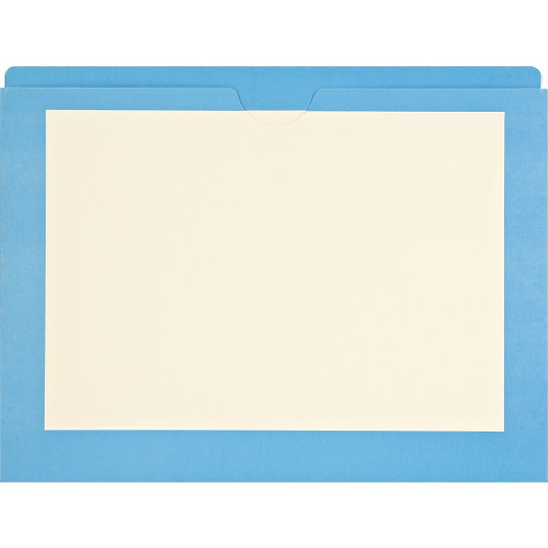 Medical Arts Press Match End Tab Colored File Pockets- Blue Border, Letter Size (100/Box)