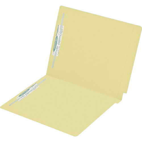Medical Arts Press Match Colored End Tab File Folders with 2 Permclip Fasteners- Canary Yellow, Letter Size, 15pt (50/Box)