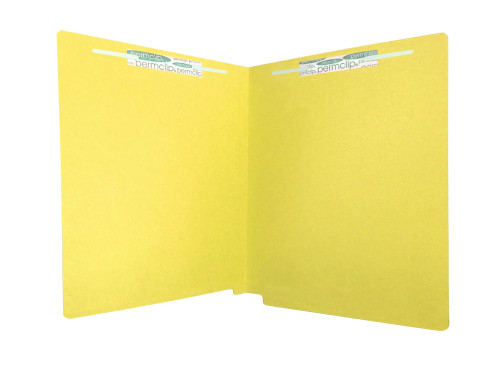 Medical Arts Press Match Heavy Duty Colored End Tab Folders with 2 Permclip Fasteners- Yellow, Letter Size, 20pt (40/Box)