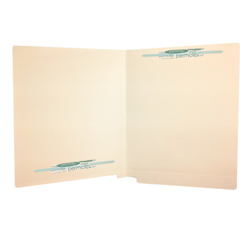 Medical Arts Press Match Full Cut End Tab File Folders with 2 Permclip Fasteners in Position 1 and 4- 14pt Manila - (50/Box)