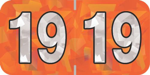 "Holographic Yearband Label (Rolls) 500 - 2019 - Orange - HOYM Series - Polylaminated -3/4"" H x 1-1/2"" W"