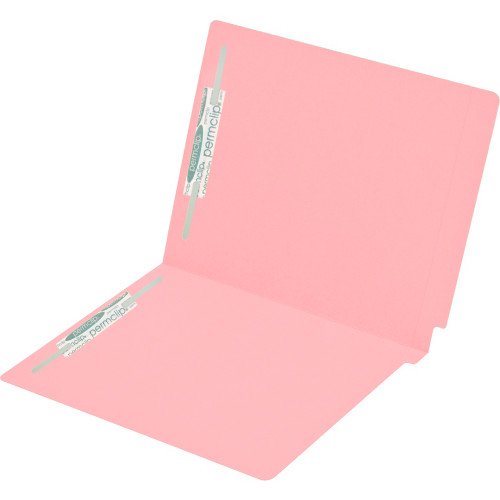 Medical Arts Press Match Colored End Tab File Folders with 2 Permclip Fasteners- Pink, Letter Size, 15pt (50/Box)