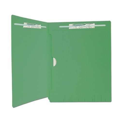 Medical Arts Press Match Full Pocket End Tab Folders with 2 Permclip Fasteners- Dark Green, 11pt (250/Carton)