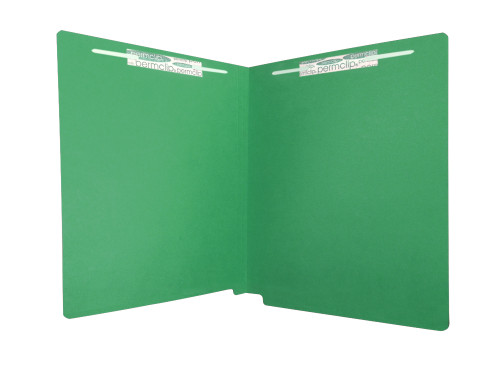 Medical Arts Press Match Economy Colored Single Ply End Tab Folders with 2 Permclip Fasteners- Dark Green, 11pt (50/Box) (55130MAP)