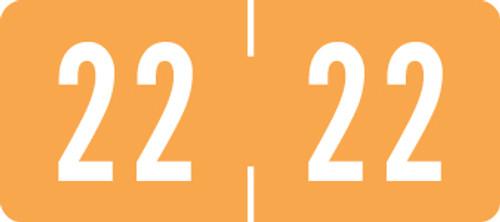 "TAB Yearband Label (Rolls of 500) - 2022 - Orange - TPYV Series - Vinyl -  1/2"" H x 1-1/8"" W"