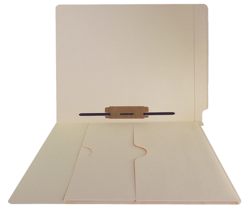 End Tab File Folders with Double Pockets, 14 Pt. Manila, Fastener in Position 5 - Letter Size, Reinforced end tab, 50/Box