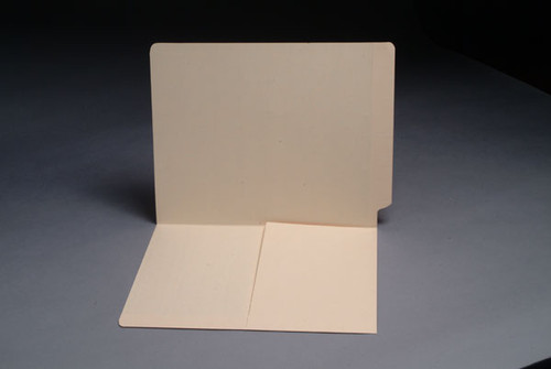 End Tab Pocket Folder with Half Pocket on left side- Letter Size - 11 pt. Manila - Full Cut End Tab - Box of 50