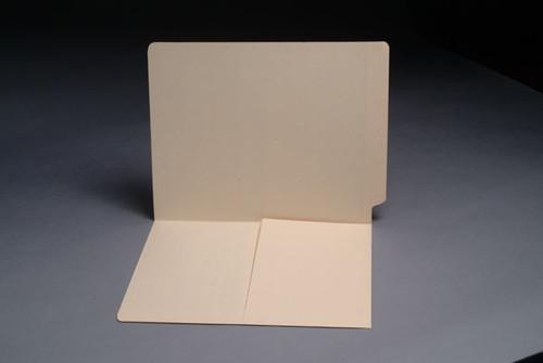 End Tab Pocket Folder with Half Pocket on left side- Letter Size - 11 pt. Manila - Full Cut End Tab - Box of 50