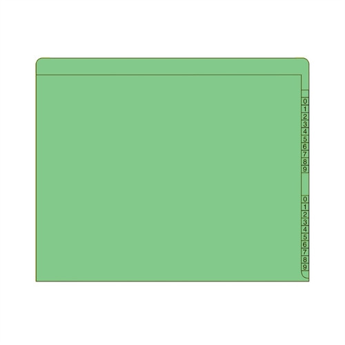"End/Top Tab Numeric Kardex Folders - GREEN - Letter Size - 3/4"" Expansion -  100/Box"