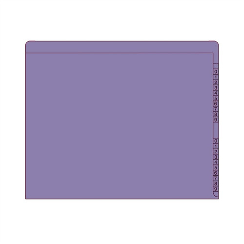 "End/Top Tab Numeric Kardex Folders - PURPLE - Letter Size - 3/4"" Expansion - 100/Box"