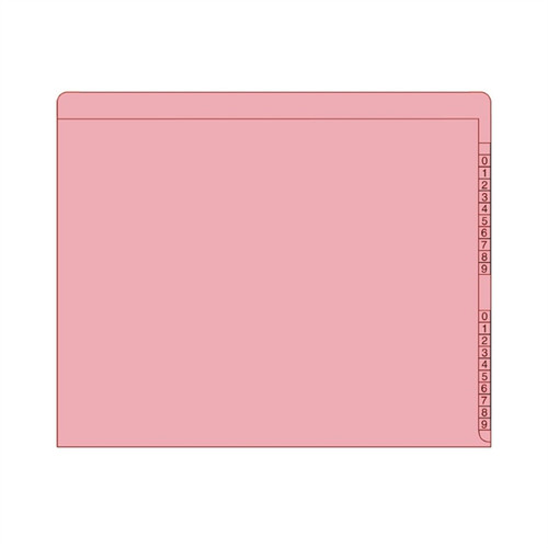 "End/Top Tab Numeric Kardex Folders - PINK - Letter Size - 3/4"" Expansion - Pink - 100/Box"
