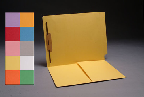 End Tab Folder with 1/2 Pocket Inside Front - 11 Pt. Colored Stock Available in 10 Colors -  1 Fastener in Position #1 - Reinforced Tab - Letter Size - 50/Box