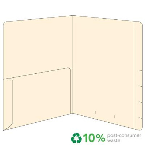 Top Tab with Left Half Pocket - 11 Pt. Manila - Reinforced Top Tab - Box of 50
