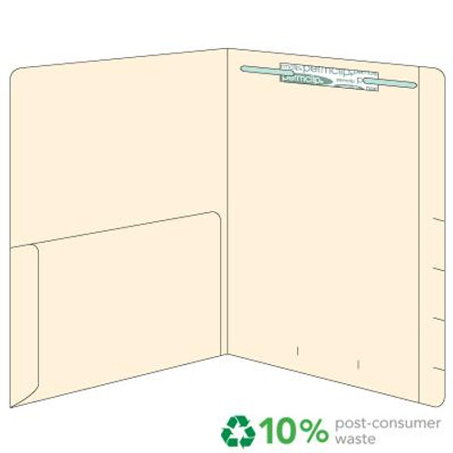 Top Tab Folder with Left Half Pocket - Fastener in Position 1 - 11 Pt. Manila - Reinforced Top Tab - Box of 50