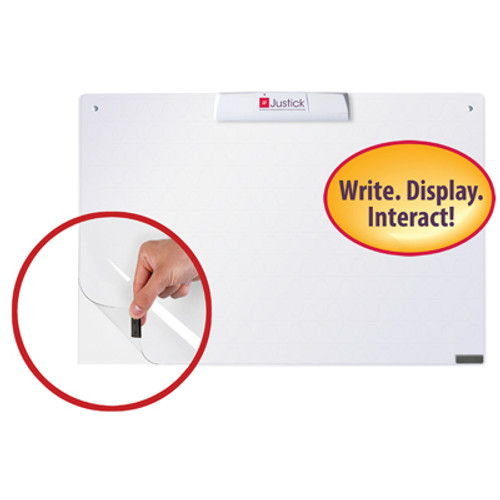 "Justick by Smead, Frameless Mini dry-erase board with Clear Overlay, 24""W x16""H with Justick Electro Surface Technology, White (02549)"