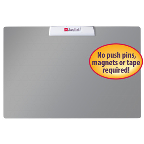 "Justick by Smead, Frameless Mini Bulletin Board 16""W x 24""H, with Justick Surface Technology, Silver (02555)"